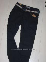 Утепленные флисом школьные брюки . Размер 134-164. Темно-синие.
