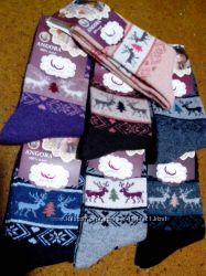 Носки женские с ангорой Олени р 35-38