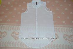 Белая шифоновая блузка на лето, размер М