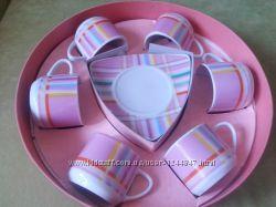 сервиз кофейный новый оригинальный розовый