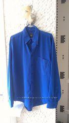 Рубашка мужская XL Design Deal, Италия, лазурный синий мокрый шёлк