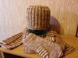 Зимний комплект, новый, шапка, шарф и рукавички