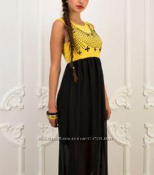 c94a8baa64aaa46 Желто-черное платье на мероприятие, прогулку, или праздник макси ...