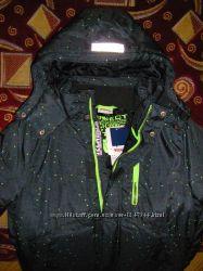 Роскошная теплая деми куртка, куртка с флисовой подстежкой 3 в1  р. 140-146