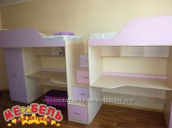 Кровать-чердак с рабочей зоной, шкафом и лестницей-комодом кл15 Merabel