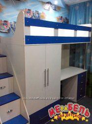 Кровать-чердак с рабочей зоной, шкафом и лестницей-комодом кл20 Merabel