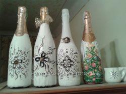 Бутылки шампанского расписанные и конфетные на подарок