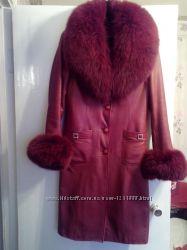 Кожаное пальто натуральное 42-44р