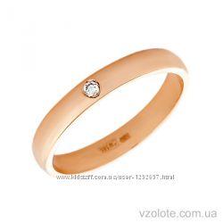Обручальное кольцо 585 пробы с бриллиантом