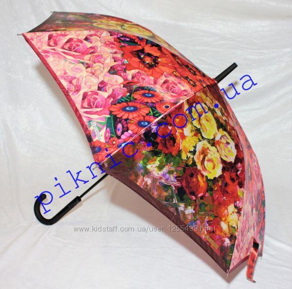 Женский зонт трость полуавтомат 8 спиц. Зонтик от дождя