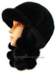 Женская норковая ушанка Виноград, черная
