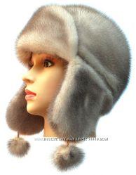 Женская норковая ушанка Лобик, колотый лед