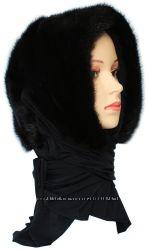 Женский норковый платок, черный