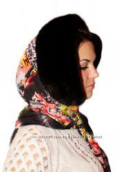 Женский норковый капор, черный
