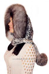 Женский капор из меха чернобурки, серебро