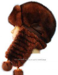 Женская норковая ушанка Зимушка, плетеное ухо, терракот