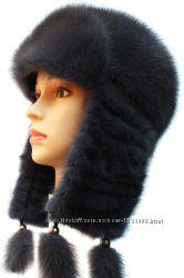 Женская норковая ушанка Зимушка, плетеное ухо, ирис