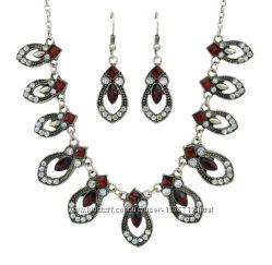 Ожерелье колье серьги набор винтажный этнический бижутерия