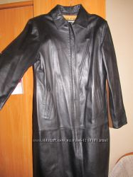 Кожаное пальто миди
