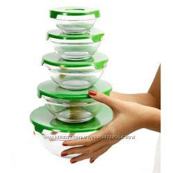 Набор салатников с крышками, стекло, 5 шт