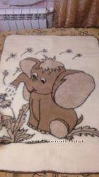 Одеяло детское из овечьей шерсти двухстороннее с рисунком