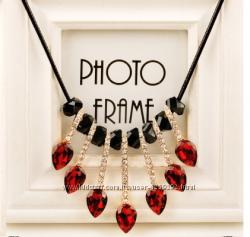 Колье ожерелье с рубиновыми подвесками