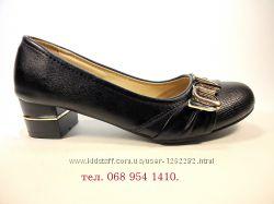 Туфли женские черные на устойчивом каблуке. Размер 36-41