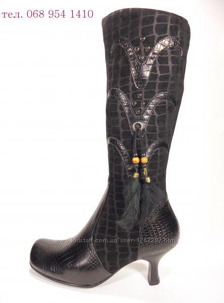 Сапоги женские демисезонные замшевые на устойчивом каблуке. Размер 36-41.