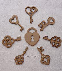 Ключики деревянные декоративные