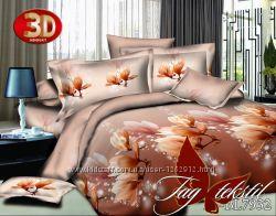 Двуспальные комплекты постельного белья ткань полисатин с 3d эффектом