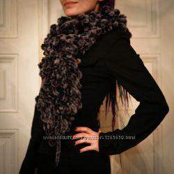 Сірий шалик боа, серый шарфик боа, теплий зимовий