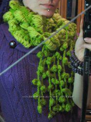 Салатовий в&180язаний шалик, салатовый вязаный шарфик, теплий, зелений, довгий