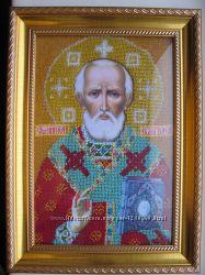 Икона Святой Николай Чудотворец, бисер, ручная работа