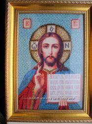 Икона Иисус Христос, бисер, ручная работа