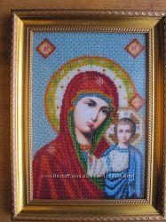 Икона Казанская Божья Матерь, бисер, ручная работа