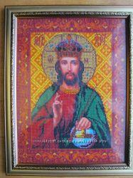 Икона Господь Вседержитель, бисер, ручная работа