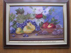 Картина Фруктовый стол, вышито, ручная работа