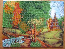 Картина Лесной пейзаж у реки, бисер, ручная работа