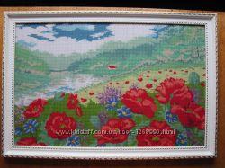 Картина Маки в поле, вышито, ручная работа