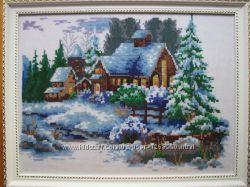 Картина Зимний дом, вышито, ручная работа