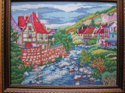 Картина Дом у реки, вышито, ручная работа