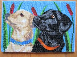 Картина Собаки, бисер, ручная работа