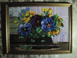 Картина Ваза с цветами, вышито, ручная работа