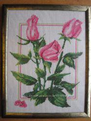 Картина Розы, вышито, ручная работа