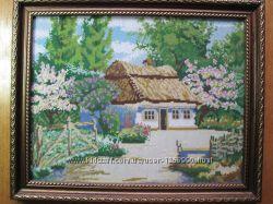 Картина Сельский дом, вышито, ручная работа