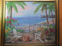 Картина У моря, вышито, ручная работа