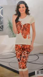 Пижама, Женский комплект футболка, капри POLAT.
