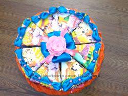 Бумажный тортик с пожеланиями.