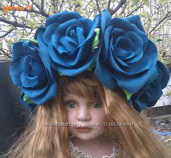 Ободки из фоамирана. Синие розы.