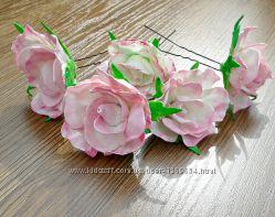 Шпильки для волос из фоамирана бутон розы
